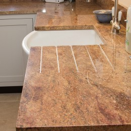 shaker kitchen with madura gold granite