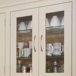 oak wall unit with glazed doors
